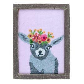 Cadre en bois et en tissu mouton Pondie Chérie