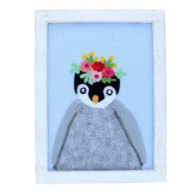 Cadre en bois et en tissu pingouin Pondie Chérie