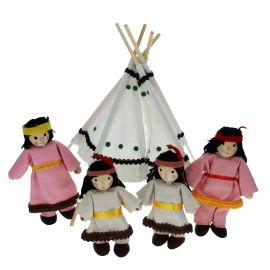 Poupées en bois la famille indienne
