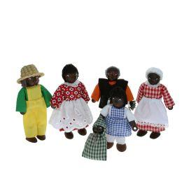 Poupées en bois la famille africaine