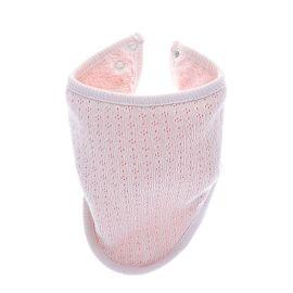 Bavoir bandana rose pointelle