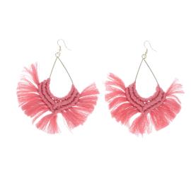Boucles d'oreilles macramé rose