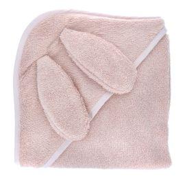 Cape de bain lapin rose pâle 100x100