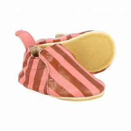 Chaussons rayures roses 12-18 mois