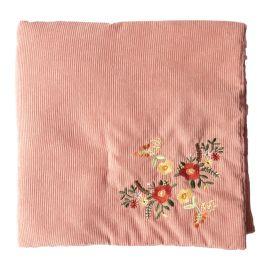 Couverture velours rose broderies fleurs