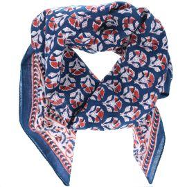 Foulard bleu et rouge blockprint