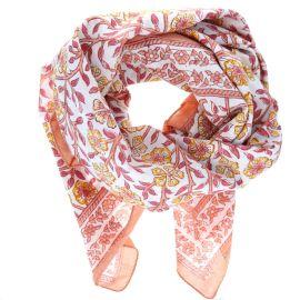 Foulard orange et rose blockprint