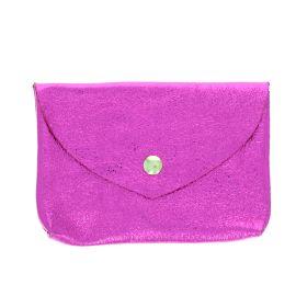 Grand porte monnaie cuir rose fuchsia