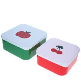 Lot de 2 lunch box pomme cerise