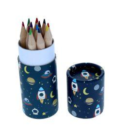 Lot de 12 crayons de couleurs astronaute