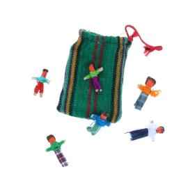 Lot de 6 mini poupées porte-bonheur pochon