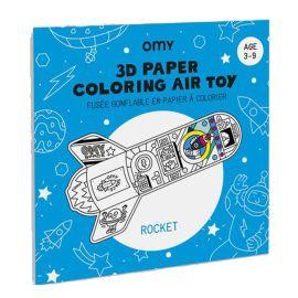 Fusée gonflable en papier à colorier