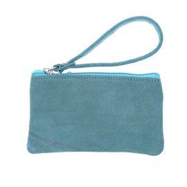 Pochette zip bleu gris pailleté