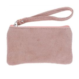 Pochette pailletée zip rose