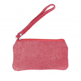 Pochette pailletée zip rose framboise