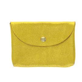 Porte carte en cuir jaune pailleté