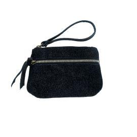 Porte monnaie double zip noir