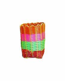 Pot à stylos multicolore tressé