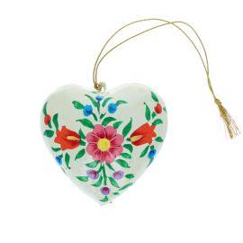 Suspension coeur fleurs peintes main