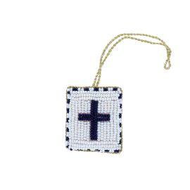 Suspension croix blanche en perles