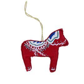 Suspension de Noël cheval rouge